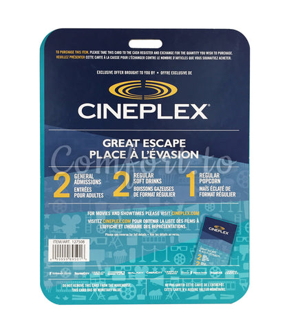 Cineplex Great Escape Movie Package, 2 adults