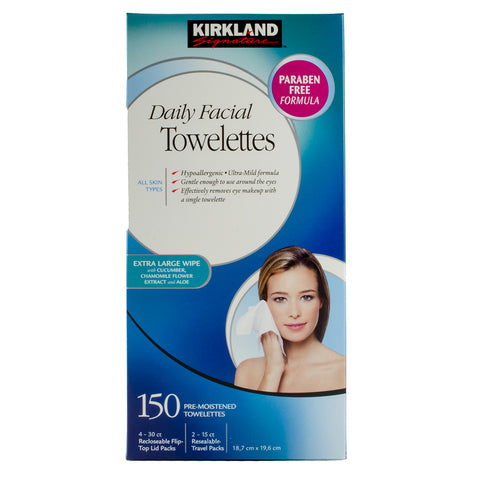 Kirkland Daily Facial Towelettes, 6 x 25 wipes
