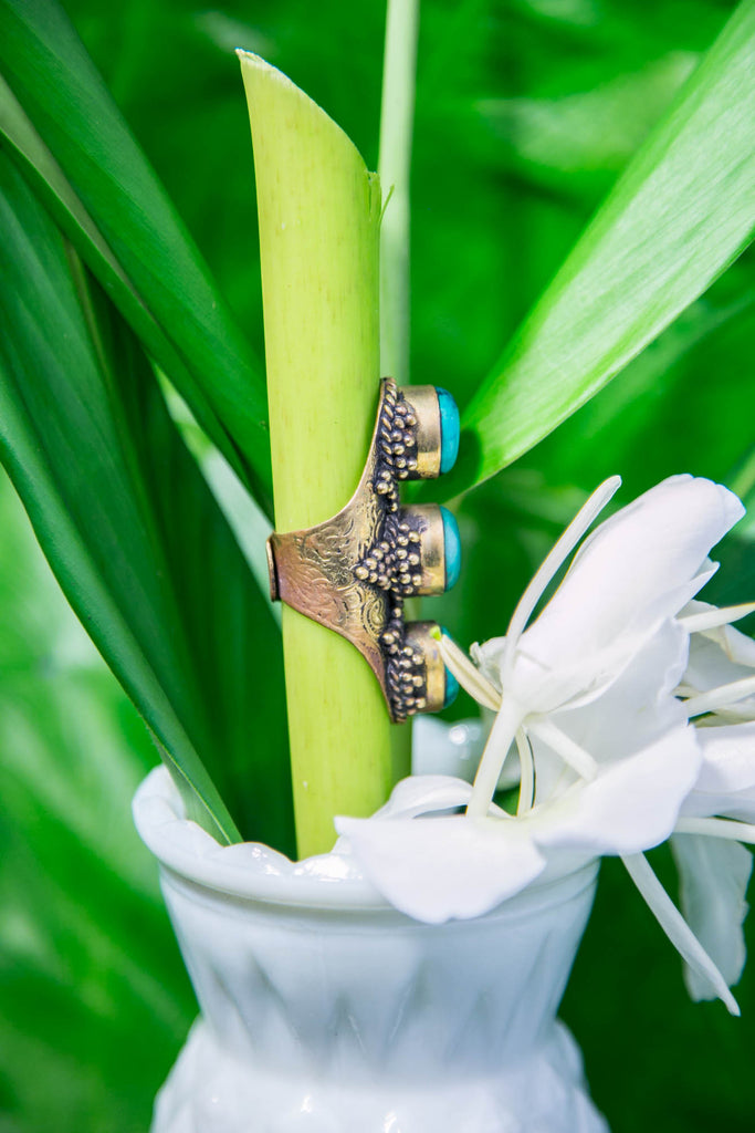 Tibetan Three Stone Ring - Teal
