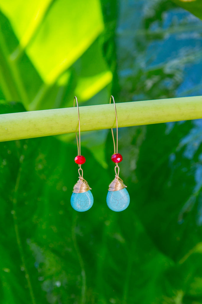 KAMERA Turquoise Drop Earrings - Blue