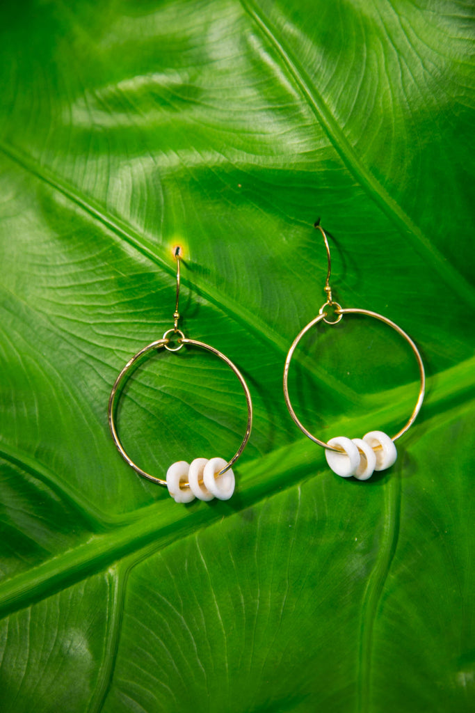 Puka Shell Hoops - Gold