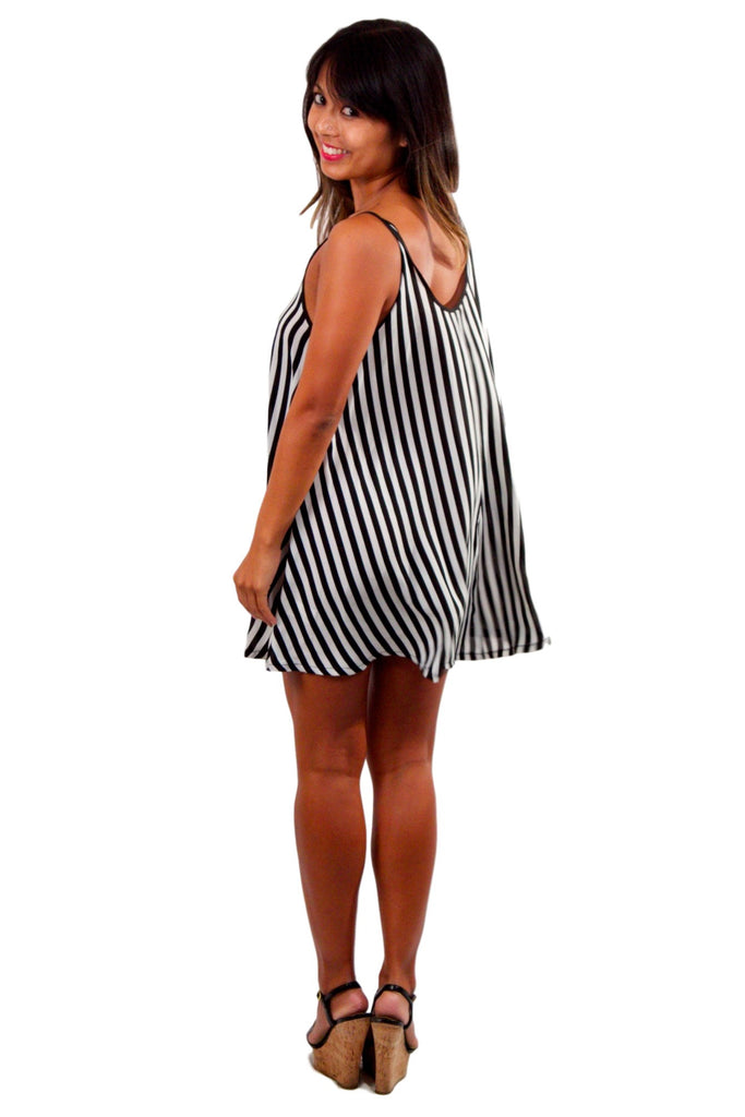Trapeze Mini Dress - Black & White Stripe