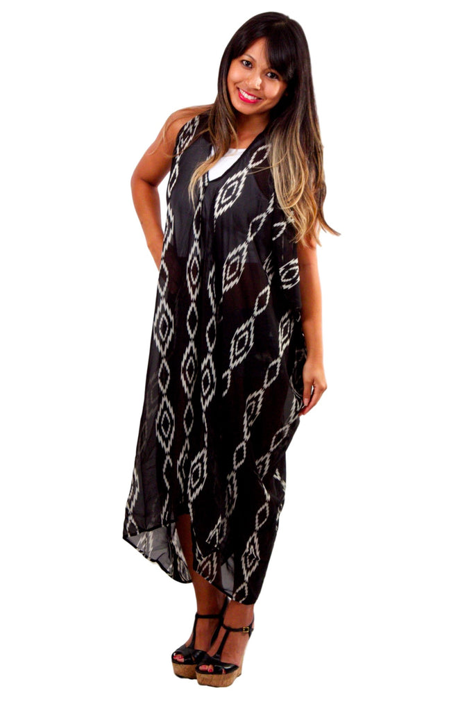 Zoe Hooded Caftan - Diamonds