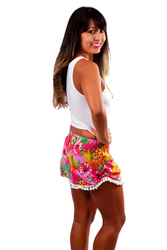 Pom Pom Shorts - Hot Pink Hibiscus
