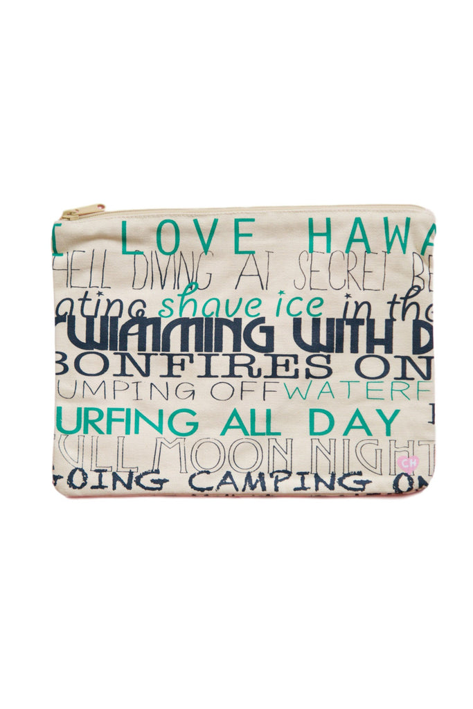 CAMERON HAWAII Large Clutch - I Love Hawaii Green