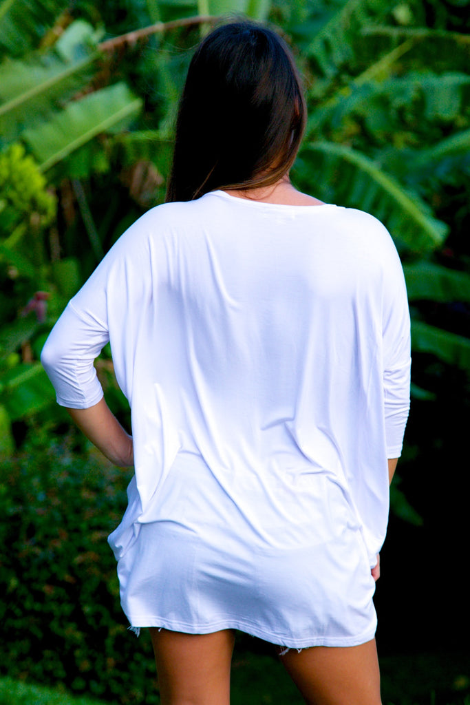 V-Neck Tunic Top - White