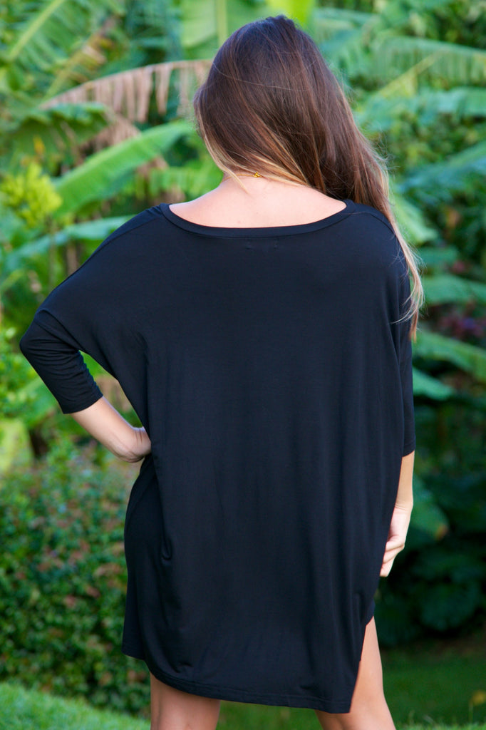 V-Neck Tunic Top - Black