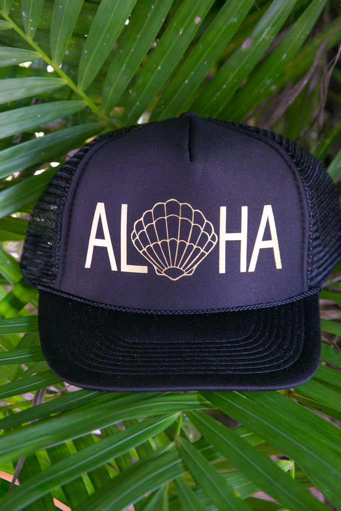NOMAD HAWAII Aloha Trucker Hat - Sunrise Shell, Black/Gold