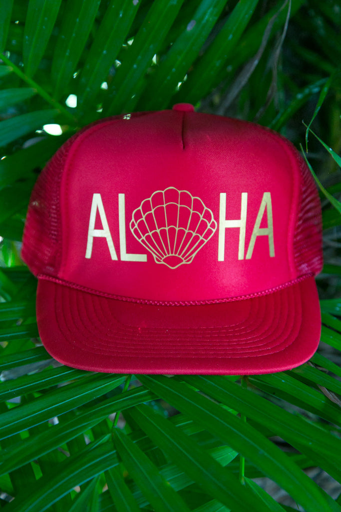NOMAD HAWAII Aloha Trucker Hat - Sunrise Shell, Red/Gold