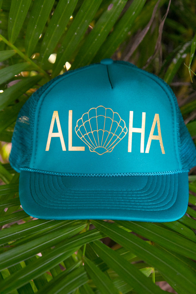 NOMAD HAWAII Aloha Trucker Hat - Sunrise Shell, Jade/Gold