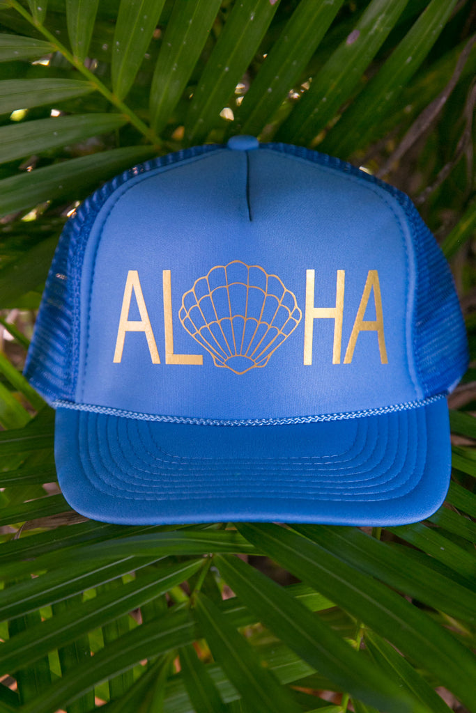 NOMAD HAWAII Aloha Trucker Hat - Sunrise Shell, Cobalt Blue/Gold