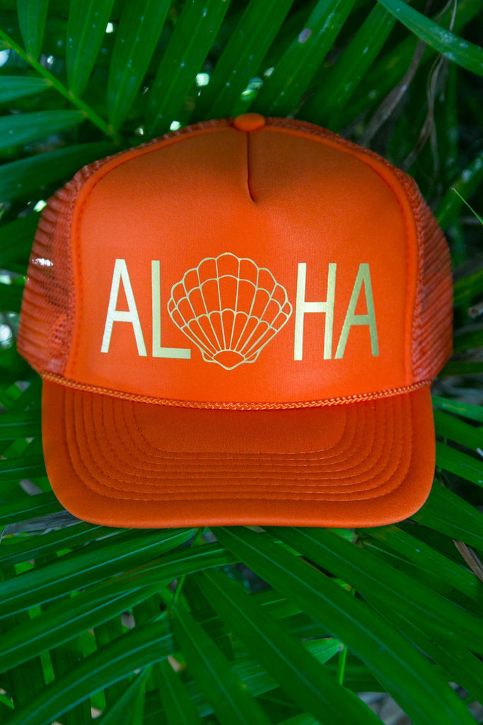 NOMAD HAWAII Aloha Trucker Hat - Sunrise Shell, Orange/Gold