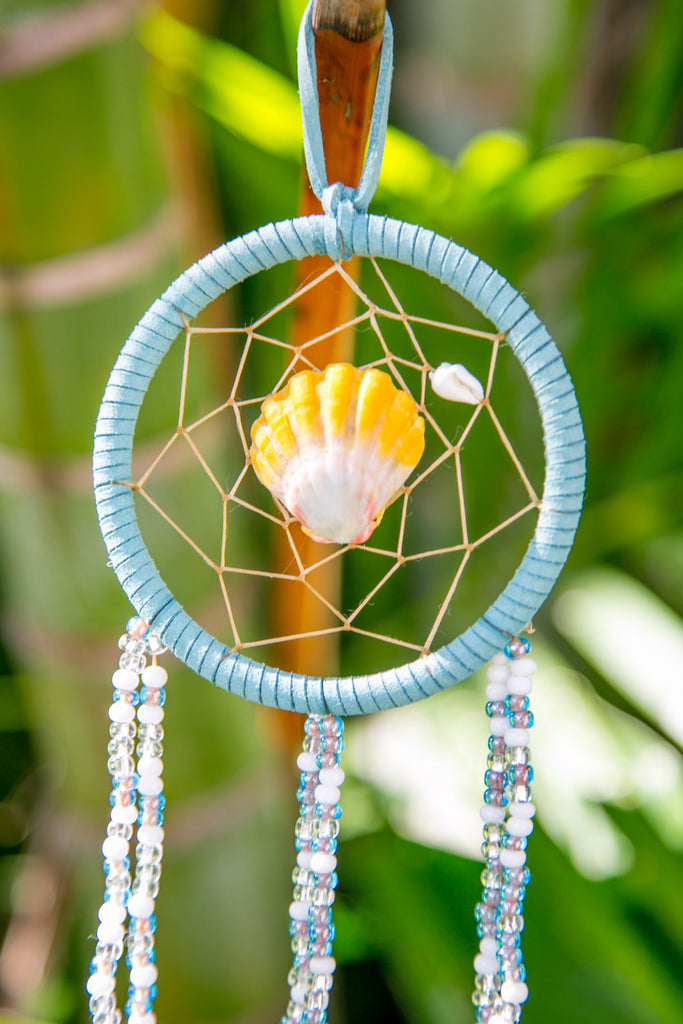 NOMAD HAWAII Small Ocean Dreamcatcher - Sunrise Shell/ Mystic Blue