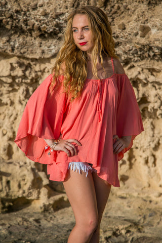 Boho Blouse Top - Coral