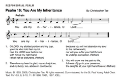 Psalm 16: You Are My Inheritance