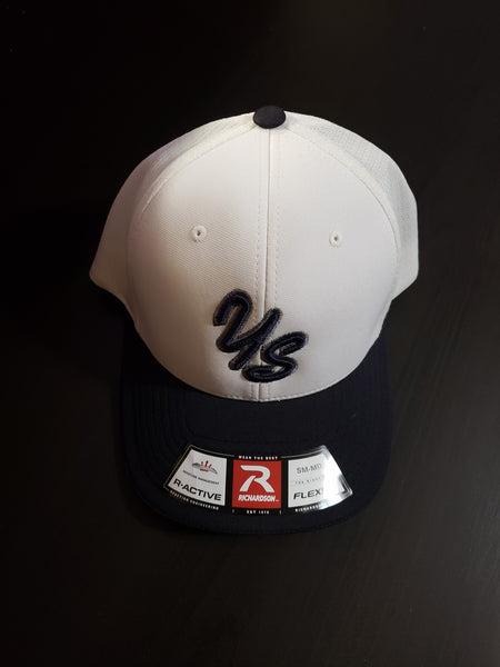 Yard Sharks Flex Fit Hat - White with Navy Bill - CLOSEOUT!