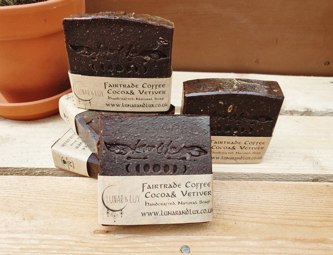 Fairtrade Coffee, Vetiver & Raw Cacao Soap