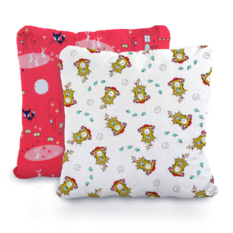 Neon Coral and White Fox and Clocks, Designer Cotton Nursery and Toddler Pillowcase Set of 2 - 16x16
