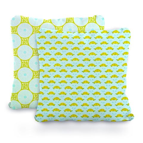 Lime, Mint, Aqua and Yellow Baby Turtles and Leaf Medallions Designer Cotton Nursery and Toddler Pillowcase Set of 2 - 16x16