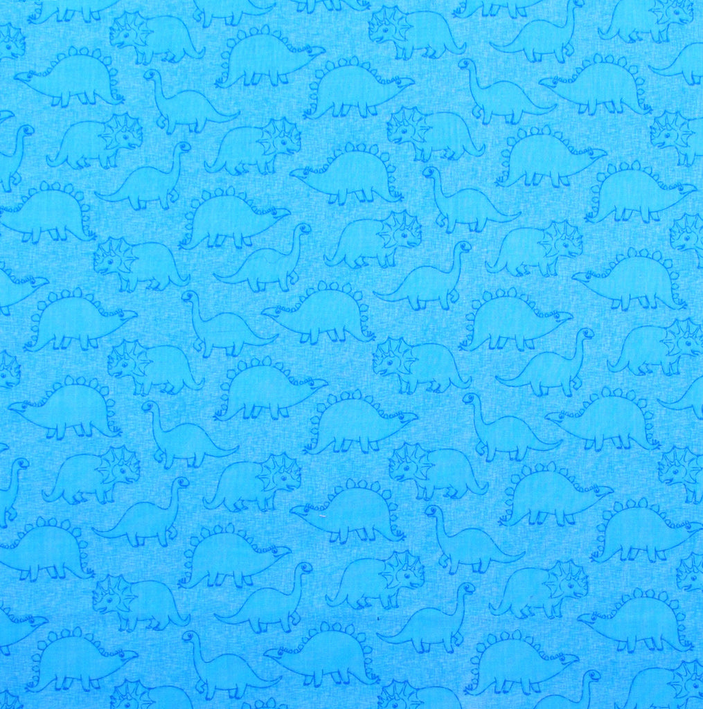 Azure Blue and Light Blue Baby Dinosaurs and Chevron, Designer Cotton Nursery and Toddler Pillowcase Set of 2 - 16x16