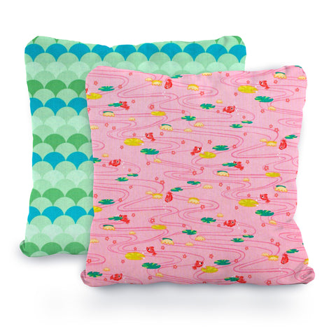 Pink and Mint Gold Fish, Green and Blue Sea Scallops, Designer Cotton Nursery and Toddler Pillowcase Set of 2  - 16x16