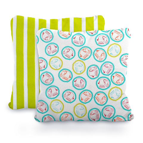 Lime, Aqua and White Elephants and Stripes, Designer Cotton Nursery and Toddler Pillowcase Set of 2, 16x16