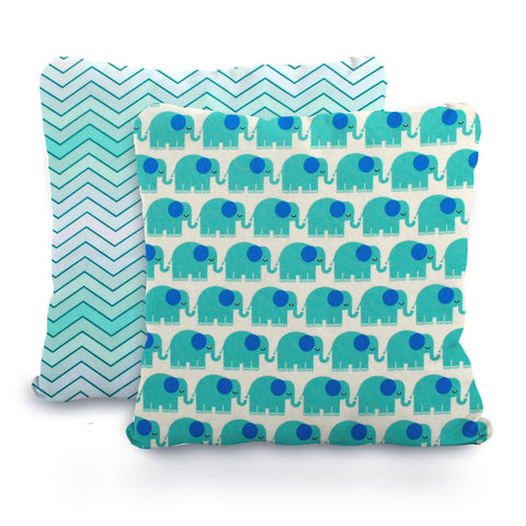 Turquoise Ombre Chevron and Elephant Designer Nursery + Toddler Pillow Cover Set, 16X16