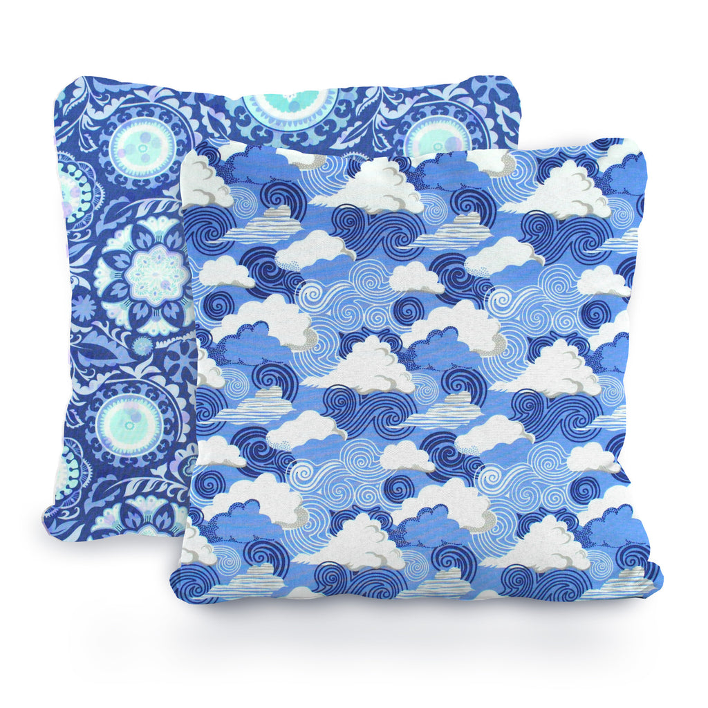 Shades of Blue, White and Aqua Floral Medallions, Swirling Winds and Clouds Designer Cotton Nursery and Toddler Pillowcase Set of 2, 16x16