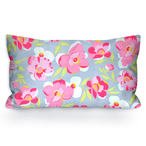 Pink, White, and Grey Floral Toddler Pillowcase, 13X18