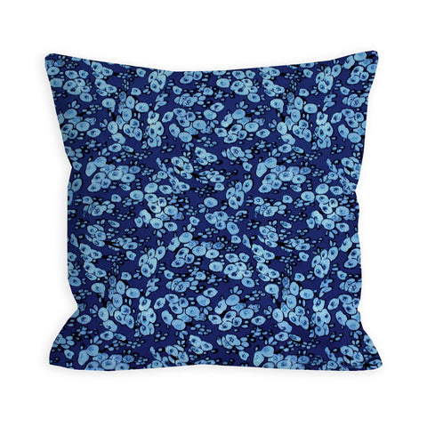 Dark Blue Blooming Heritage Pillow
