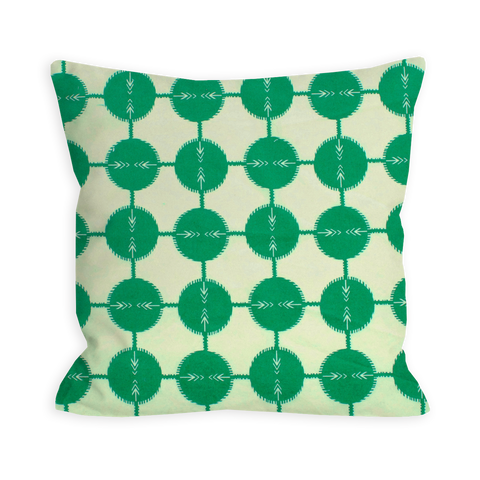 Confident Green Abstract Dots Pillow