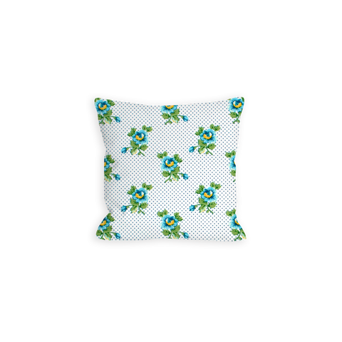 Friendly Floral Sky Blue and Green Pillow - LIL