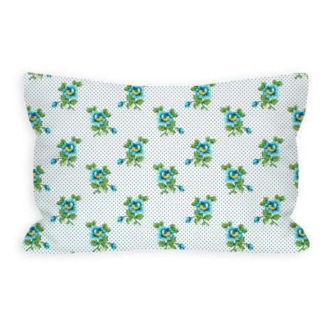 Friendly Floral Sky Blue and Green Toddler Pillow