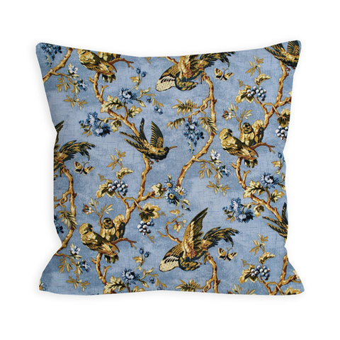 Fierce Birds Dusty Sky Blue Pillow
