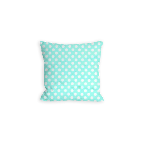 Aquamarine and White Pillow, Cheerful Polka Dot - LIL