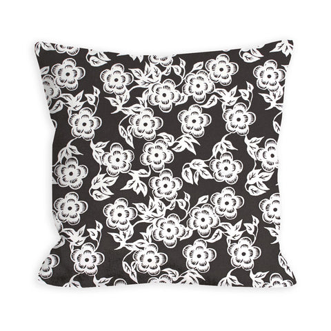 Dusty Brown and Ivory Floral Pillow