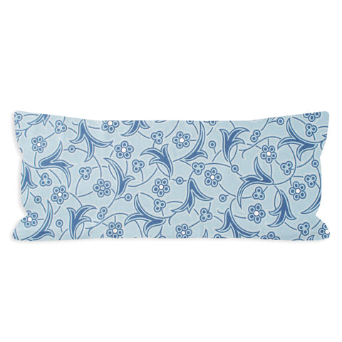 Dusty Cloud Blue Floral Scroll Lumbar Pillow