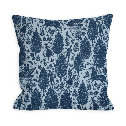 Country Horses Cornflower Blue Pillow