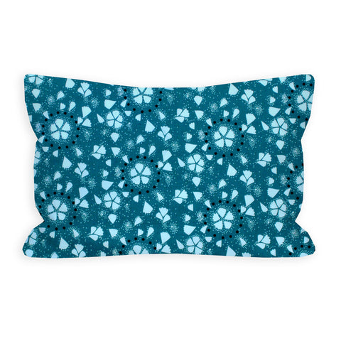 Atmosphere Petals Dark Teal and White Toddler Pillow
