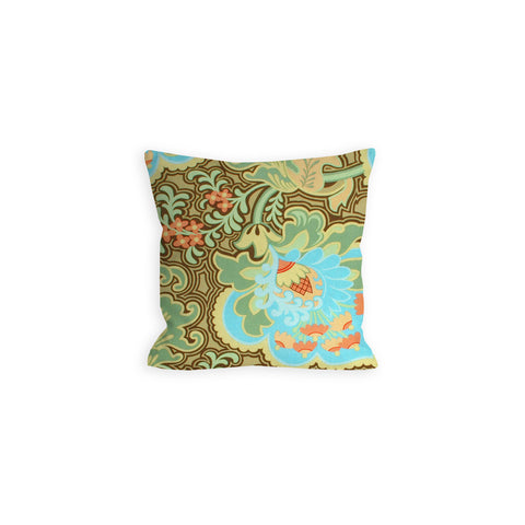 Oriental Rose Bright Apricot and Sky Pillow - LIL