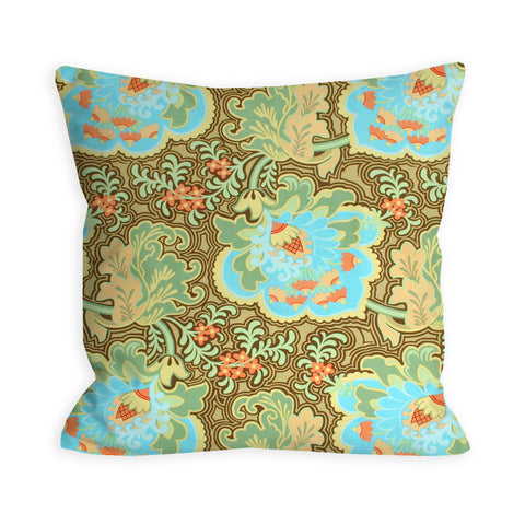Oriental Rose Bright Apricot and Sky Pillow