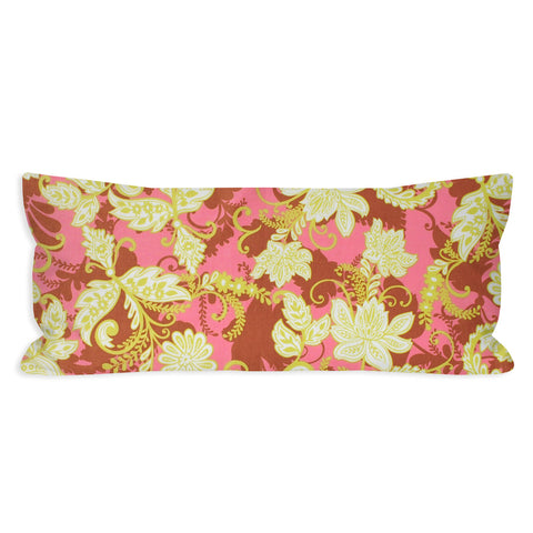 Funky Floral Scroll Chartreuse and Pink Lumbar Pillow
