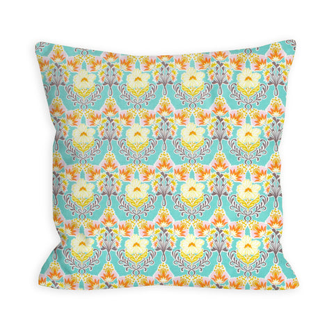 Funky Florals Turquoise Pillow