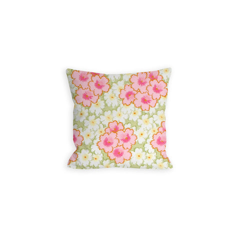 Pink and White Floral Watercolor Pillow - LIL