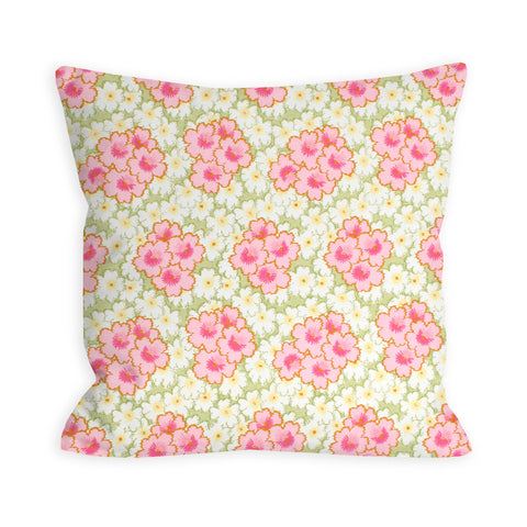 Pink and White Floral Watercolor Pillow