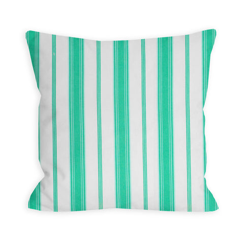 Preppy Paris Green Balanced White Stripe Pillow