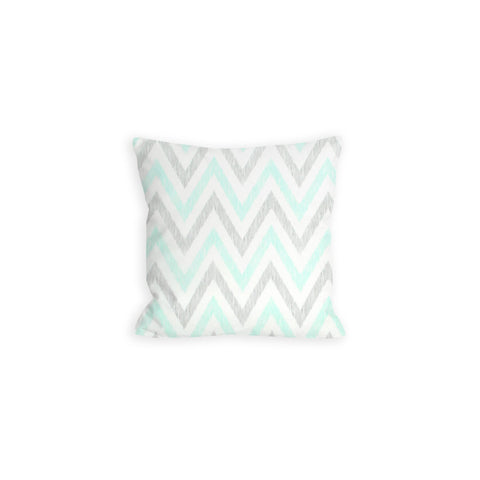 Puddle Chevron Aqua, Grey and White Pillow - LIL