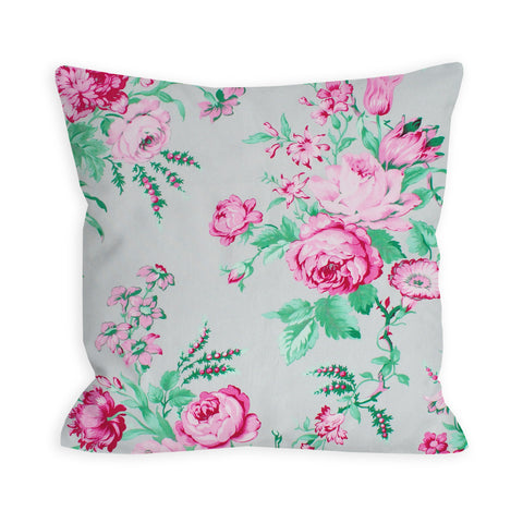 Rose Garden Grey Vintage Bouquet Pillow