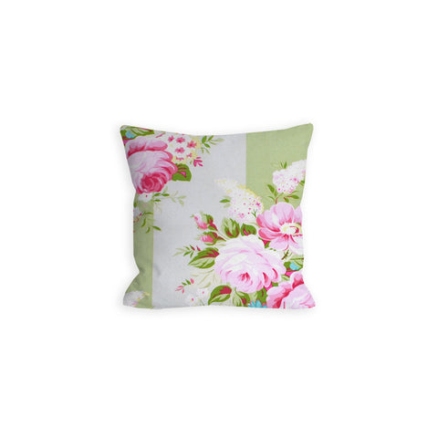 Pastel Green Floral Stripes Pillow - LIL