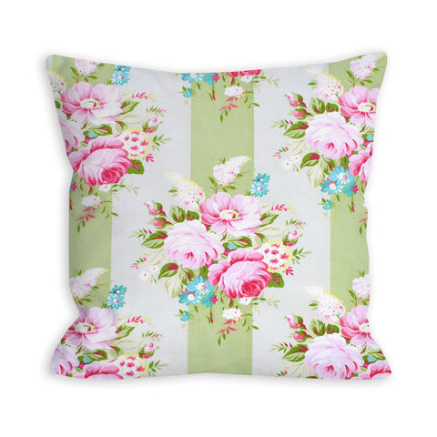 Pastel Green Floral Stripes Pillow